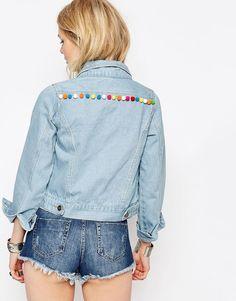Image 2 of Liquor & Poker Petite Cropped Denim Jacket With Folk Embroidery And Pom Pom Trim