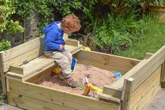 DIY Wooden Sandpit with Lid and Benches Wooden Sandpit With Lid, Wooden Sandbox, Kids Sandbox, Kids Indoor Playground, Plan Toys, Shade Canopy, Sand Pit, Outdoor Furniture Sets, Outdoor Decor