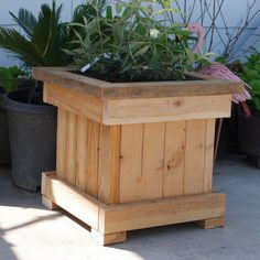 """› Forums › Submit Your Project › DIY Planter Box Tagged: planter box, projects This topic has 0 replies, 1 voice, and was last updated 1 month ago by Viewing 1 post (of 1 total) Author Posts March 2020 at pm Built from planter box Plans"""". Diy Wooden Planters, Outdoor Planter Boxes, Backyard Planters, Planter Box Plans, Wood Planter Box, Backyard Landscaping, Patio, Pallet Planters, Planter Bench"""