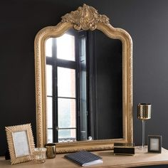 Specchio dorato in legno H 95 cm WAINSCOTT
