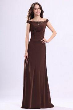 Brown Chiffon Off Shoulder Party Dresses - Order Link: http://www.theweddingdresses.com/brown-chiffon-off-shoulder-party-dresses-twdn2503.html - Embellishments: Draped , Beading; Length: Floor Length; Fabric: Chiffon; Waist: Natural - Price: 160.37USD