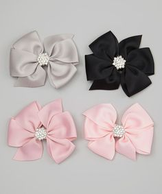 Look at this Black & Light Pink Rhinestone Bow Clip Set on #zulily today!