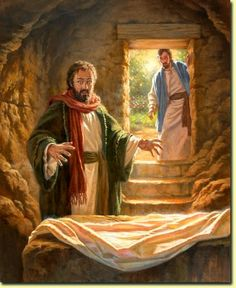 1 Peter (NIV) Praise be to the God and Father of our Lord Jesus Christ! In his great mercy he has given us new birth into a living hope through the resurrection of Jesus Christ from the dead, Jesus Ressuscité, Jesus Is Risen, Jesus Resurrection, Jesus Tomb, Jesus Face, Images Bible, Bible Pictures, Jesus Pictures, Lds Art
