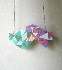 geometric polymer clay necklace