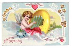 free angel postcard image | Vintage Postcard Easter Greetings Angel with Egg Harp (Image1)