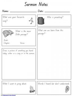 Sermon Notes for Kids - A Moment in our World