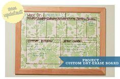 custom dry-erase board calendar using old picture frame.