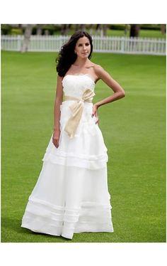A-line Strapless Floor-length Organza Satin Wedding Dress