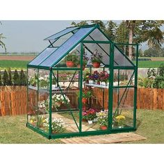 : Nature Greenhouse Kit - x Green - The Nature Hobby Greenhouse is sure to get you up and growing in no time! Save money by Season Greenhouse Serre Polycarbonate, Polycarbonate Greenhouse, Diy Greenhouse Plans, Walk In Greenhouse, 6x8 Greenhouse, Aquaponics Greenhouse, Backyard Greenhouse, Aquaponics System, Greenhouse Wedding