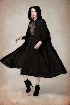 Black Wool Hooded Cape Maxi Hooded Cloak Winter Coat Jacket