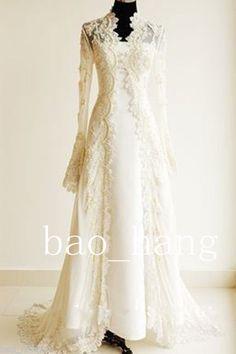 Vintage Lace Jacket Wedding Long Cloak Custom Full Sleeve Bridal Wraps Cape 2016