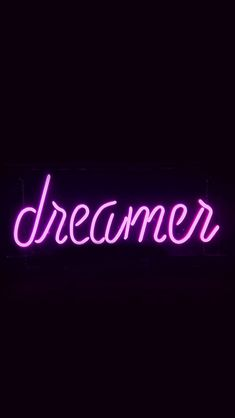 Dreamers Neon Sign Dark Illustration Art Purple #iPhone #5s #wallpaper