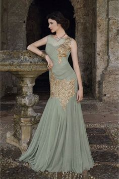 Grey Colour Georgette and Chiffon Fabric Designer Semi Stitched Gown Comes With Matching Dupatta. This Gown Is Crafted With Embroidery,Sequins Work,Patch Work,Stone Work,Zari Work. This Gown Comes As ...