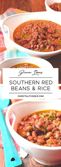 This Southern Red Beans & Rice recipe is a mixture of the two versions of red beans recipes I grew up enjoying. To put my spin on it, I decided to add some Caribbean spices and coconut milk. If you need a good southern Louisiana recipe to satisfy the family for dinner give the Southern Red Beans & Rice a try and you will look forward to eating leftovers for days. #redbeans #southern #redbeansandrice #comfortfood #beans via @dudethatcookz Beans Recipes, Cajun Recipes, Rice Recipes, Side Dish Recipes, Dinner Recipes, Cooking Recipes, Haitian Recipes, Donut Recipes, Healthy Southern Recipes