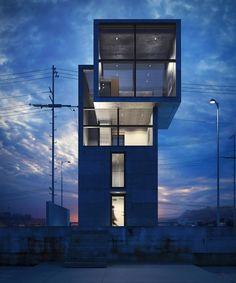 Tadao Ando - 4X4 house, Hyogo 2003 (the view). Via.