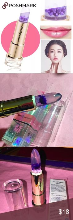 💯AUTHENTIC KAILIJUMEI PURPLE JELLY FLOWR LIPSTICK 100% authentic  Kailijumei lipstick offers a natural but glossy pink shine. Color changes depending on temperature of you.  They are moisturizing and smell of sweet lavender . Main Ingredients: candelilla resin, cocoa butter, plant extract, stearic alcohol, olive oil, citric acid, grape seed oil, lavender oil, etc...(3 kinds of Dried flowers)  **DON'T BE FULLED BY ALL THE DUPS OUT THERE! AUTHENTICS ARE SOLD OUT IN STORES! DO YOUR RESEARCH…