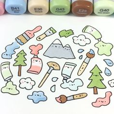 "7,748 Likes, 34 Comments - ⭐️KiraKiraDoodles (@kirakiradoodles) on Instagram: ""The Joy of Doodling Happy little trees, mountains and fluffy clouds! ☺️☁️ • • #bobross #doodle…"""