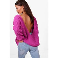 Boohoo Millie V-Back Oversized Jumper (€12) ❤ liked on Polyvore featuring tops, sweaters, oversized turtleneck sweaters, party jumpers, marled sweaters, chunky oversized sweater and chunky turtleneck sweater