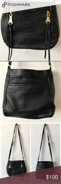 """NWOT Aimee Kestenberg Byron Crossbody Bag $225 NWOT Aimee Kestenburg Byron Crossbody Bag $225 retail. Sold out. Immaculate- never carried.   A reptilian-inspired textured detail adds depth to this trendy design crafted in pebbled leather. Crossbody strap, 20""""-22"""" drop. Top zip closure. Two outside zipper pockets. Tassel accent. One inside zip pocket. Two inside open pockets. Fully lined. Gold hardwear. 10""""W X 9""""H X 4. 5""""D. Leather. Imported. Color: black Aimee Kestenberg Bags Crossbody Bags"""