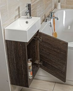 Compact Wall Hung Cloakroom Vanity Unit. In Dark Oak Inc Basin, Excl Tap.