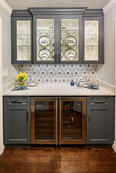 Beautiful Butlers Pantry with glass display cabinets Walker Zanger backspl - Beverage Refrigerator - Ideas of Beverage Refrigerator - Beautiful Butlers Pantry with glass display cabinets Walker Zanger backsplash tile and a 36 Beverage refrigerator Refrigerator Cabinet, Beverage Refrigerator, Kitchen Butlers Pantry, Butler Pantry, Kitchenette, Marble Tile Backsplash, Home Wet Bar, Walker Zanger, Beverage Center