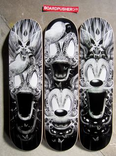 French artist Nicolas Obery keeps making stunning skateboard graphics through www.BoardPusher.com, so we're gonna keep posting them. Today's Featured Decks are some eerie imaginations of classic characters. See what other fantastic nightmares Nicolas is creating at www.fantasmagorik.fr.