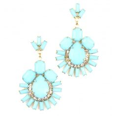 "As seen on ShopDesignSpark.com  -Turquoise acrylic stones with clear crystal detail  -2.5""L, 1.5""W. Post backing  -Imported"