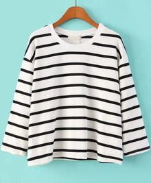 White Long Sleeve Striped Crop T-Shirt US$18.83