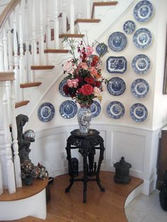 Blue & white collection beautifully displayed.
