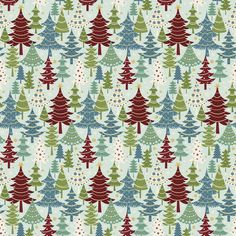 Jolly Penguin and Friends by Mitzi Powers for Benartex - Festive Trees - Turquoise/Multi