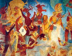 Guerreros mayas en pleno combate. Reconstrucción de la sala de la guerra del templo de los Murales en el yacimiento de Bonampak.