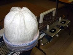 Finished easy-to-machine-knit stockinette stocking hat