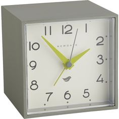 CB2 Newgate ® Cubic Grey And White Alarm Table Clock ($40) ❤ liked on Polyvore featuring home, home decor, clocks, battery powered clock, cb2, battery alarm clock, battery operated alarm clock and desktop alarm clock