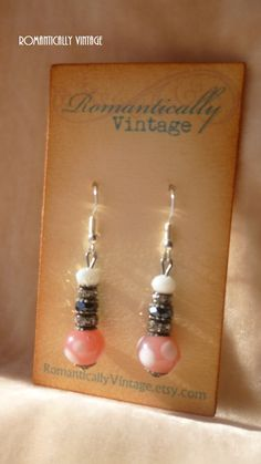 Pink Polka Dot Glass Beaded Earrings by RomanticallyVintage, $25.00