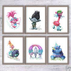 Trolls art print Set of 6 Trolls watercolor poster Trolls wall