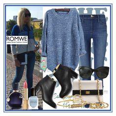 """ROMWE"" by deedee-pekarik ❤ liked on Polyvore featuring BasicGrey, Frame Denim, Paul Andrew, Chanel, Rebecca Minkoff, Lacoste, Dolce&Gabbana, Deborah Lippmann, romwe and blueknitsweater"