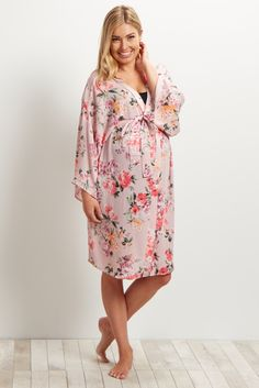 9ef37a977e Pink Floral Delivery Nursing Maternity Robe