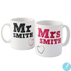 Personalised MR & MRS Mug Set £11.95
