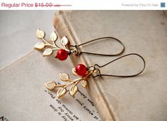 pretty red + gold earrings