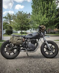 "holdfastmotors: ""She's just about @motosinmoab ready! #yamaha #xs400 #blackandtan #holdfastmotors #scrambler #motosinmoab #motocamping #GoOnAndRideAlittle #croig #caferacerxxx #ninetynineco """