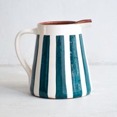 Large Stripe Pitcher - Teal – The Portuguese Shop