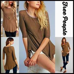 "❗️1-HOUR SALE❗️FREE PEOPLE Tunic Layering Top NEW WITH TAGS FREE PEOPLE Tunic Swing Layering Tee  DETAILS:   * Scoop neck  * 3/4 length sleeves  * Contrast trim & asymmetrical cape hem  * Approx 24-32"" long, hi-lo style  * Super soft lightweight fabric  * Stretch-to-fit style   Color: Canteen Fabric: 95% rayon & 5% spandex Item#:92700  No Trades ✅ Offers Considered*✅ *Please use the blue 'offer' button to submit an offer. Free People Tops Tunics"