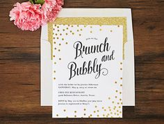 Brunch and Bubbly Invitation \\ REAL METALLIC FOIL \\ Gold, Silver, Black, or Rose Gold