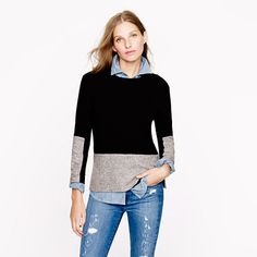 Woven panel sweater in black - AllProducts - sale - J.Crew
