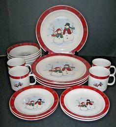 Royal Seasons Christmas Snowman Stoneware 16 Pc Dinnerware Set RETIRED #royalseasons