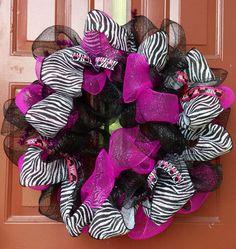 Deco Mesh Wreath - Fall Wreath - Disney Wreath - Minnie Mouse Wreath - Zebra Ribbon Wreath - Welcome Home Wreath - Front Door Decor