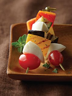 Serve up some inspiration with this Fresh Mozzarella Skewers with Grilled Vegetables recipe from Galbani Cheese. Our authentic Italian cheeses will bring the joy of sharing a savory meal with those you love – it's one of life's greatest pleasures. Italian Cheese, Vegetable Seasoning, Fresh Mozzarella, Grilled Vegetables, Served Up, Skewers, Cherry Tomatoes, Vegetable Recipes, Appetizers