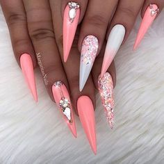 Coral white ombré stilettos by MargaritasNailz Summer nail designs glitter nails art • • • • Valentino glitter#glitternails#ombrenails#nails#stilettonails#MargaritasNailz#nailfashion#naildesign#nailswag#hairandnailfashion#nailedit#nailcandy#glamnails#nailaddict#nailstagram#teamvalentino#unicornnails#summernails#instagramnails#encapsulatednails#nailsoftheday#nailporn#nailsonfleek#fashionnails#wakeupandmakeup#modernsalon#hudabeauty#nails2inspire#peachnails#valentinobeautypure #summernailart