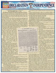 Declaration of Independence Laminated Reference Guide With the Mayflower Compact and Gettysburg Address, word for word. Excellent for use as a memorization tool. Waterproof for the bath, in the pool, or for use as a placemat. World History Teaching, World History Lessons, Us History, History Facts, American History, Ancient History, Native American, Roman History, History Timeline