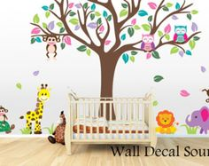 Nursery Wall Decal Bird Tree Wall Decal Owl by WallDecalSource